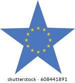 european flag in a star. vector ... | Shutterstock .eps vector #608441891
