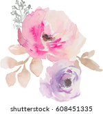 watercolor flower bouquet. pink ... | Shutterstock . vector #608451335