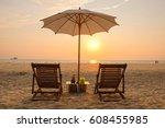 open public sea beach on sunset ... | Shutterstock . vector #608455985
