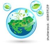 beautiful eco friendly world... | Shutterstock .eps vector #608459159