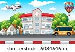 school building with school bus ... | Shutterstock .eps vector #608464655