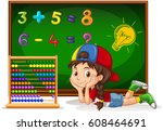 girl counting numbers on board... | Shutterstock .eps vector #608464691