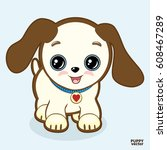 cute puppy with a smile ... | Shutterstock .eps vector #608467289