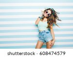amazing charming summer young... | Shutterstock . vector #608474579