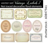 vector set  vintage labels 7 | Shutterstock .eps vector #60847561