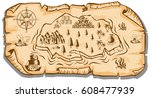 treasure map on brown paper... | Shutterstock .eps vector #608477939