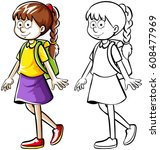 doodle drafting of girl with... | Shutterstock .eps vector #608477969