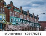 cherry blossoms and row houses... | Shutterstock . vector #608478251