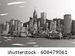 sketch of cityscape in hong... | Shutterstock .eps vector #608479061