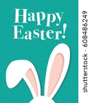 happy easter card poster with... | Shutterstock .eps vector #608486249