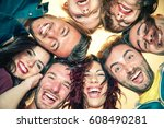 group of diverse friends taking ... | Shutterstock . vector #608490281