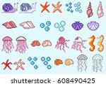 set of pixel marine animals and ...