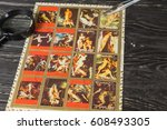 collecting postage stamps.... | Shutterstock . vector #608493305