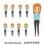 business woman character in job.... | Shutterstock .eps vector #608494589