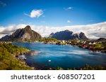 lofoten islands is an... | Shutterstock . vector #608507201
