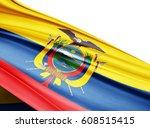 ecuador   flag of silk with...   Shutterstock . vector #608515415