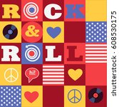 american rock and roll...   Shutterstock .eps vector #608530175