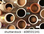 lots of coffee cups on wooden... | Shutterstock . vector #608531141