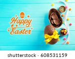 delicious treats and text happy ... | Shutterstock . vector #608531159