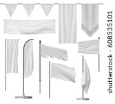 flag mockup set. realistic... | Shutterstock . vector #608535101