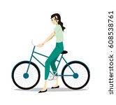 active young woman riding on... | Shutterstock .eps vector #608538761