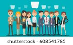 people creating business in... | Shutterstock .eps vector #608541785