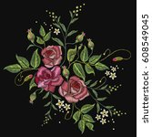 roses embroidery on a black... | Shutterstock .eps vector #608549045