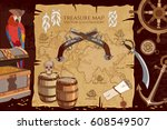 old pirate treasure map.... | Shutterstock .eps vector #608549507