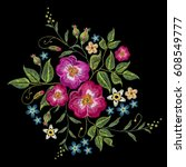 embroidery wild roses  dogrose... | Shutterstock .eps vector #608549777