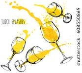 juice orange and apple splashes ... | Shutterstock .eps vector #608550869