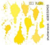 juice orange and apple splashes ... | Shutterstock .eps vector #608550905