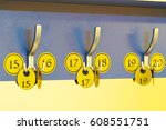 cloakroom tickets close up | Shutterstock . vector #608551751