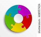 puzzle five color piece... | Shutterstock .eps vector #608557424