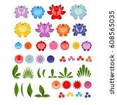 gorodets painting set of... | Shutterstock . vector #608565035
