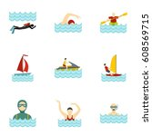 boating and swimming icons set. ... | Shutterstock . vector #608569715