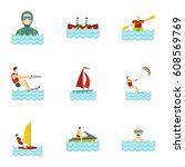 water sports icons set. flat... | Shutterstock . vector #608569769