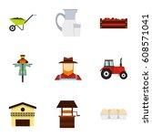 farming icons set. flat...   Shutterstock . vector #608571041