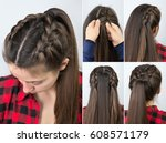 simple braided hairstyle...   Shutterstock . vector #608571179
