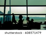 view from airport terminal... | Shutterstock . vector #608571479