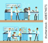 chemists in the chemical... | Shutterstock .eps vector #608574071