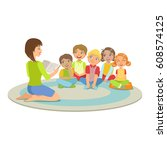 group of small kids sitting... | Shutterstock .eps vector #608574125