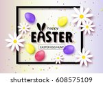 happy easter egg hunt banner... | Shutterstock .eps vector #608575109
