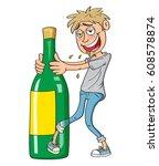 drunk guy drinking alcohol ... | Shutterstock .eps vector #608578874