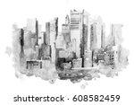 watercolor drawing of new york... | Shutterstock . vector #608582459