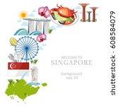 travel singapore culture... | Shutterstock .eps vector #608584079