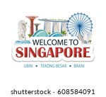 singapore header text sticker... | Shutterstock .eps vector #608584091