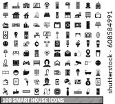 100 smart house icons set in...   Shutterstock . vector #608584991