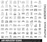 100 industry icons set in... | Shutterstock . vector #608585561