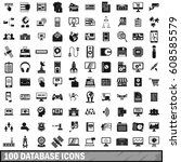 100 database icons set in... | Shutterstock . vector #608585579