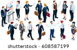 people isometric 3d  the big... | Shutterstock . vector #608587199